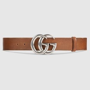 GUCCI Leather Belt with Double G Buckle size 80